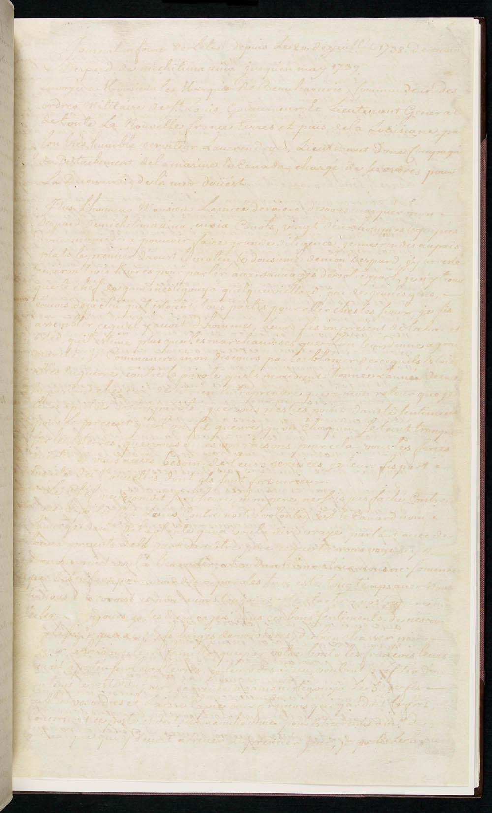 Journal d'une expédition de Pierre Gaultier de La Vérendrye dans l'Ouest, adressé à Charles de Beauharnois de la Boische, juillet 1738-mai 1739. CA ANC MG18-B12