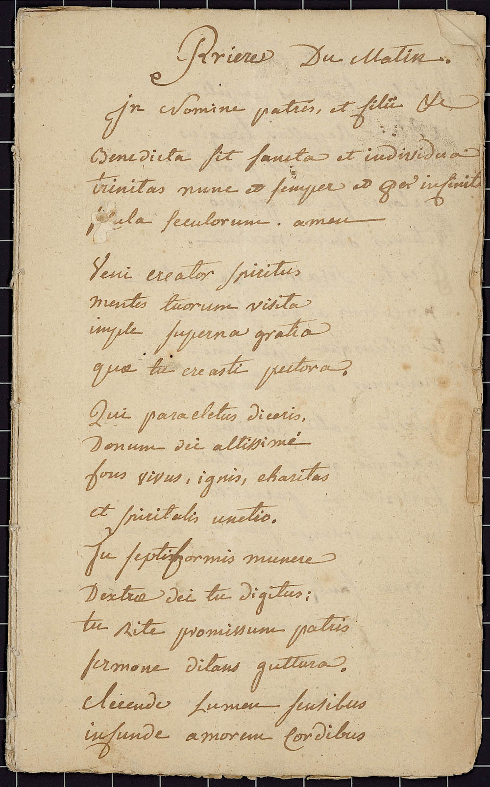 Prayer Book in Latin and French, by Jean-Pierre de Miniac, priest of the Compagnie de Saint-Sulpice, ca. 1724, CA ANC MG18-E22