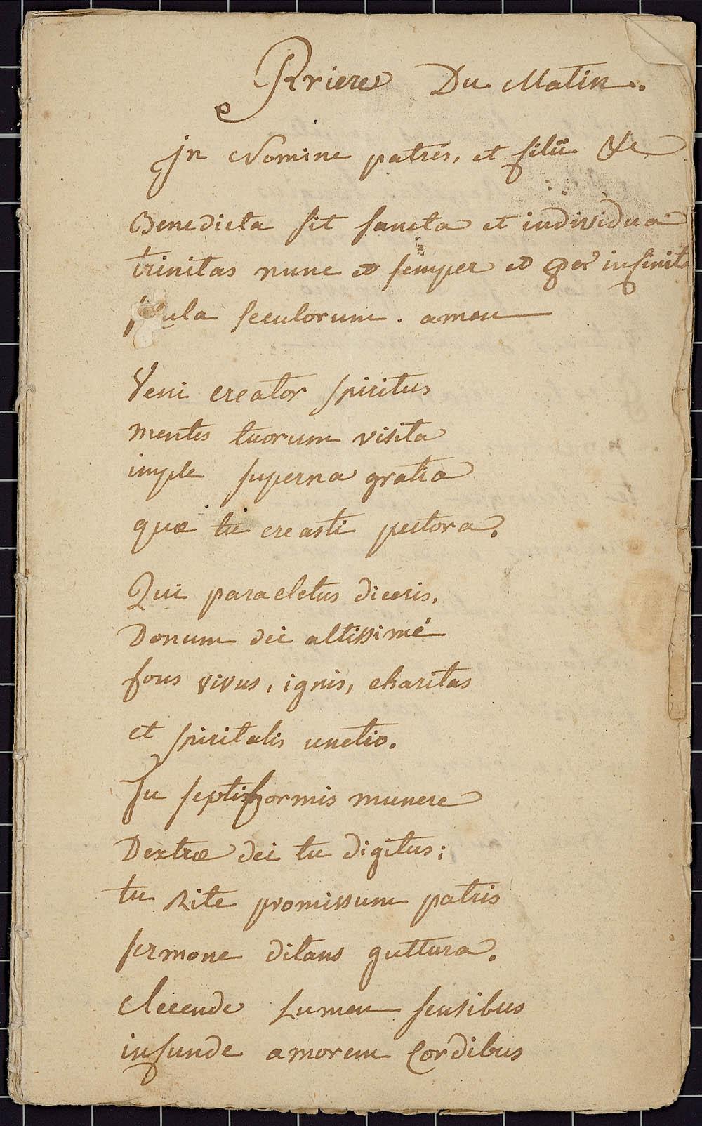 Cahier de prières, en latin et en français, de Jean-Pierre de Miniac, prêtre de la compagnie de Saint-Sulpice, vers 1724. CA ANC MG18-E22