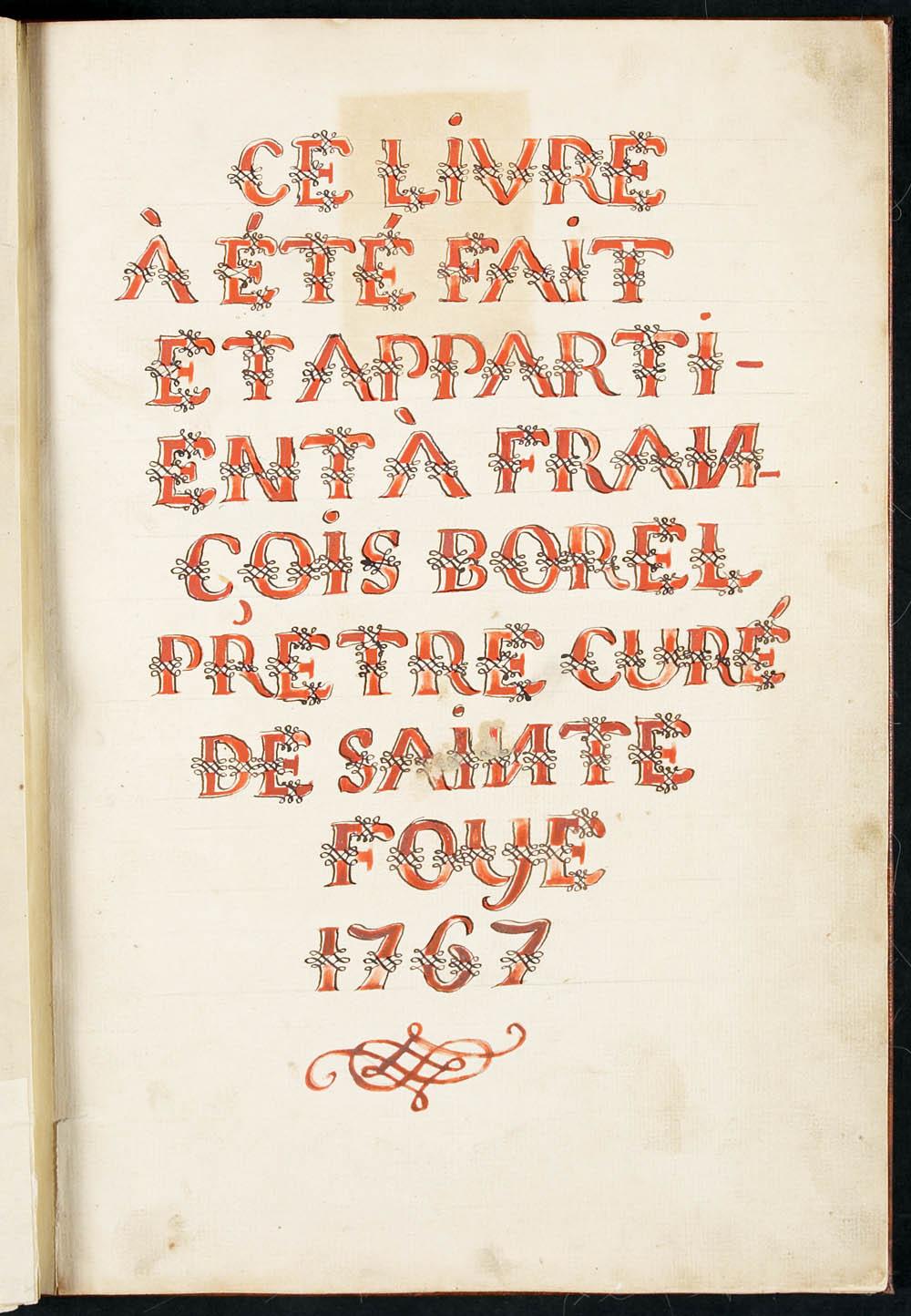 Livre de chants grégoriens, par François-Xavier Borel, 1767. CA ANC MG18-E21