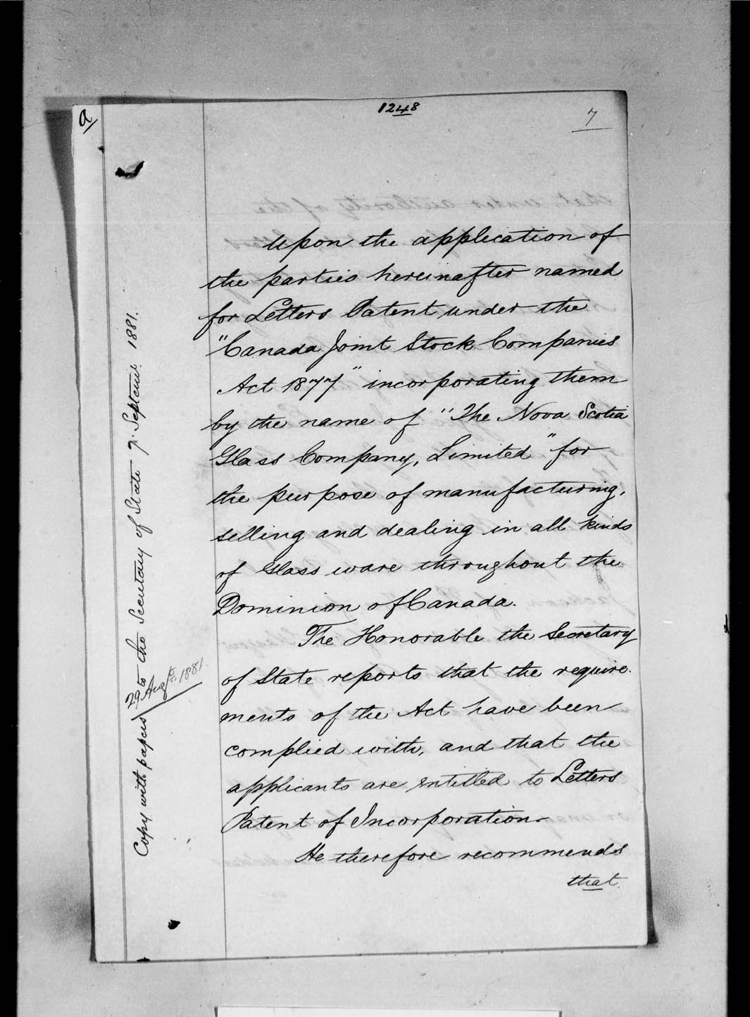 Nova scotia history index subject incorporation of the nova scotia glass company limited new glasgow nova scotia for the purpose of manufacturing selling and dealing in all aiddatafo Gallery