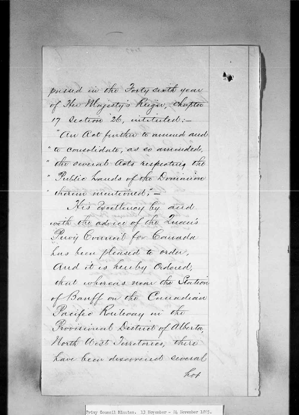 Digitized page of Orders in Council for Image No.: e002659154