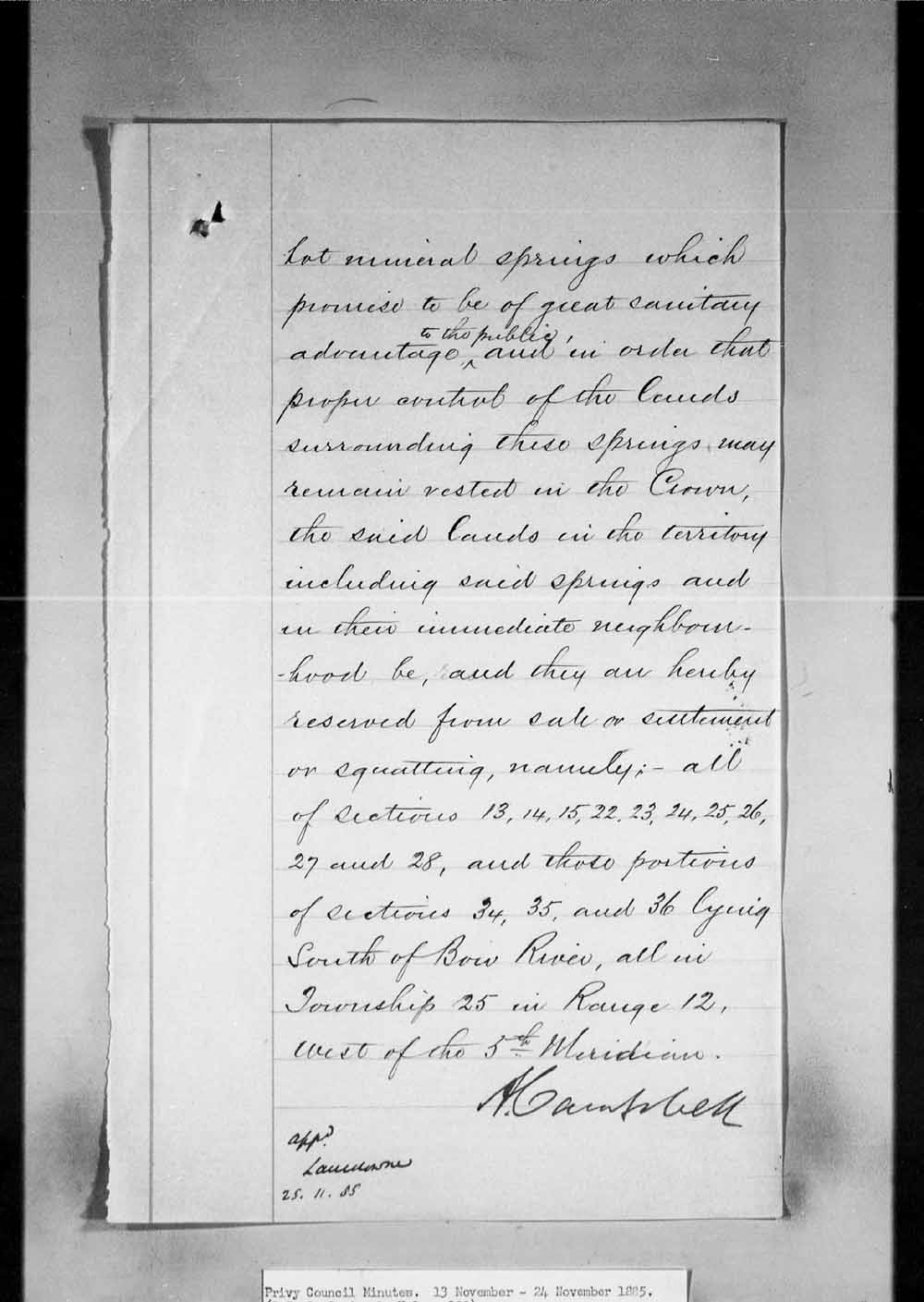 Digitized page of Orders in Council for Image No.: e002659155