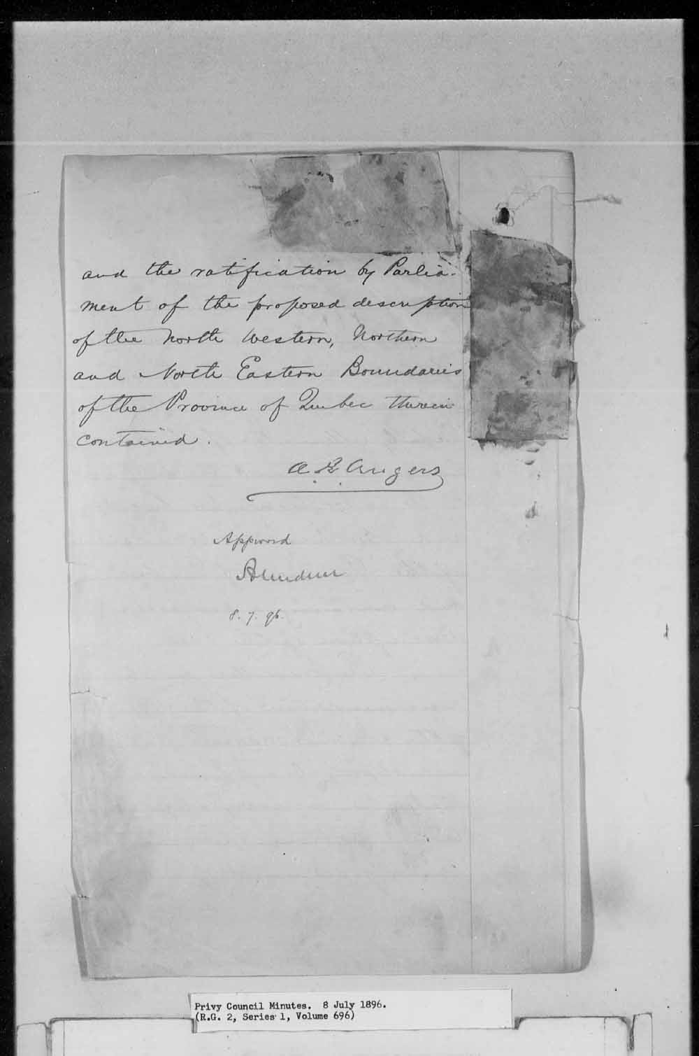 Digitized page of Orders in Council for Image No.: e003161792