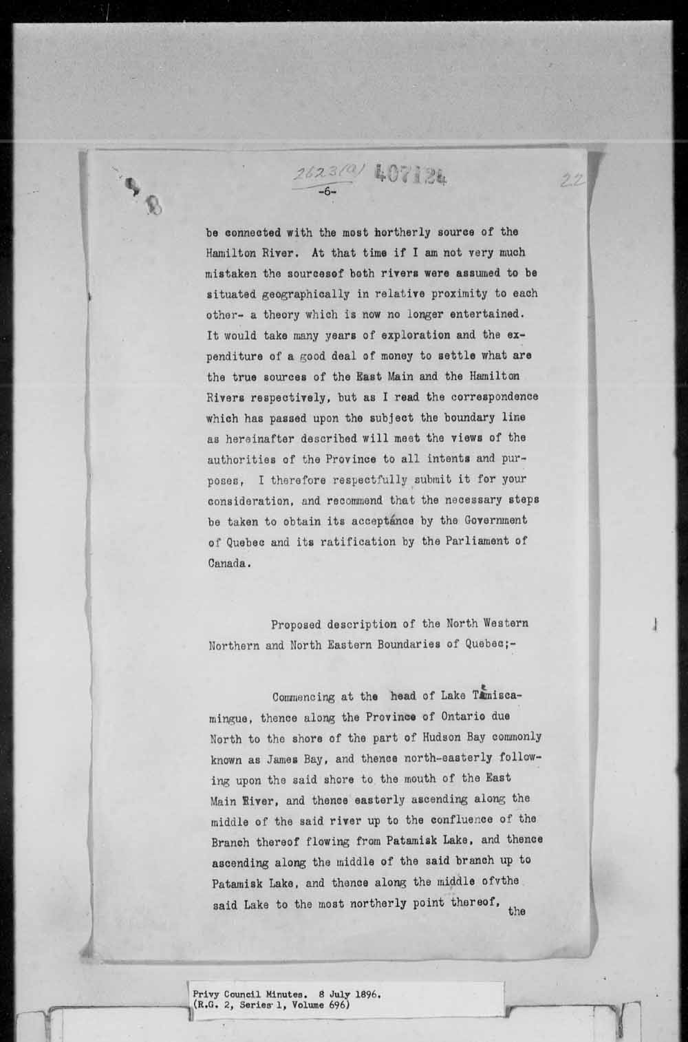 Digitized page of Orders in Council for Image No.: e003161798