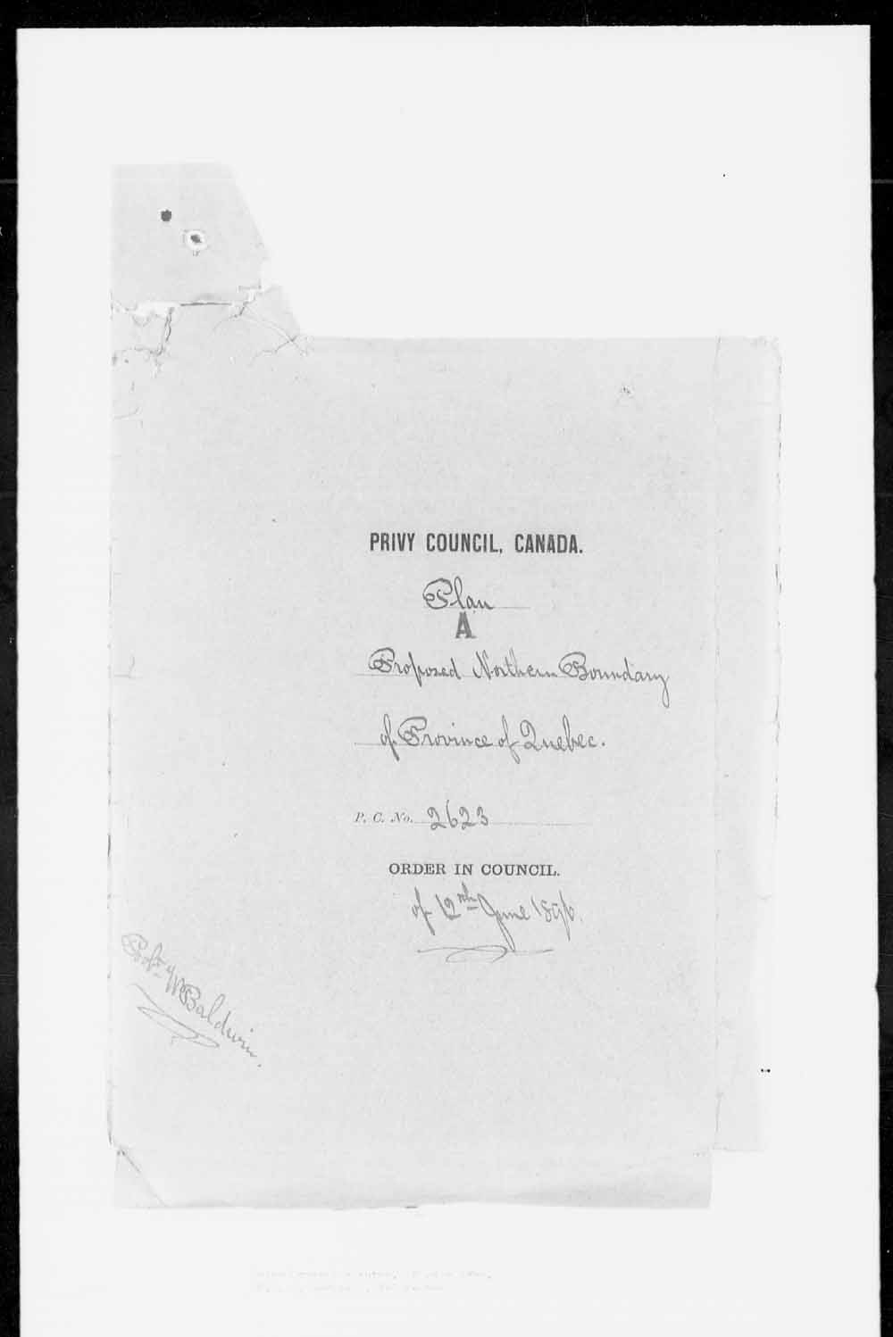Digitized page of Orders in Council for Image No.: e003161800