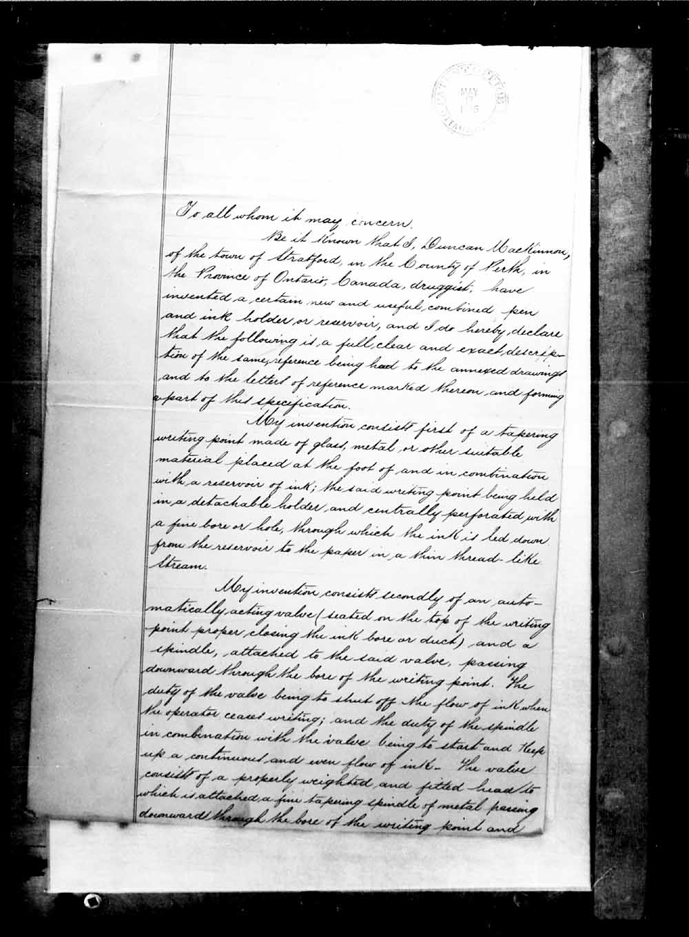 Digitized page of Canadian Patents, 1869-1919 for Image No.: e003263085