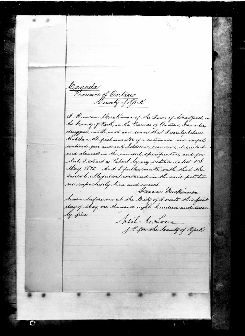Digitized page of Canadian Patents, 1869-1919 for Image No.: e003263090