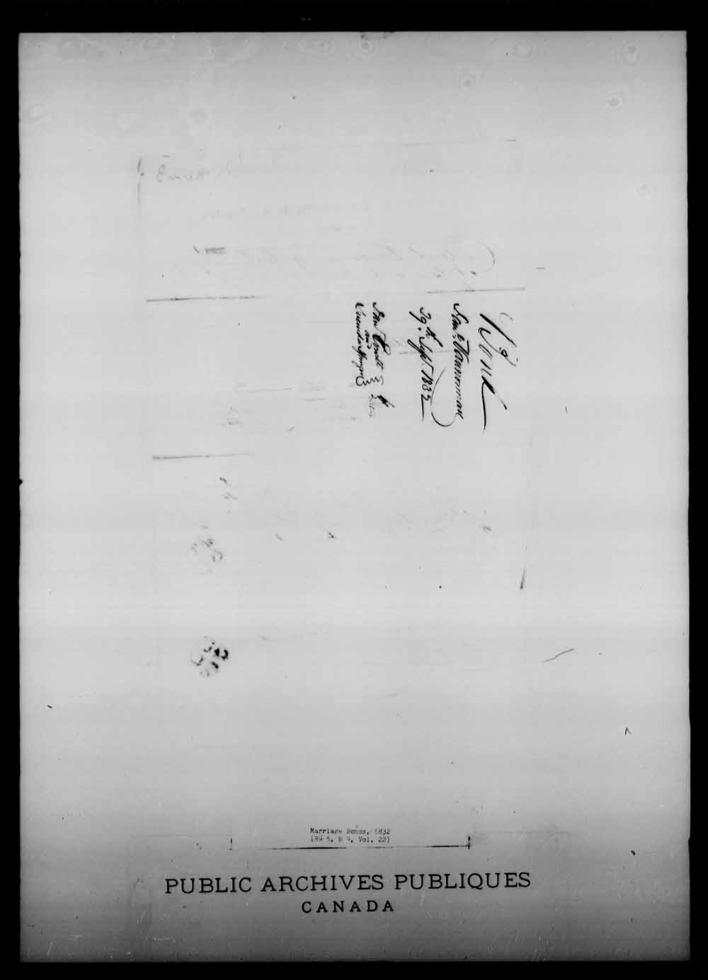 Digitized page of Upper and Lower Canada Marriage Bonds (1779-1865) for Image No.: e008217953