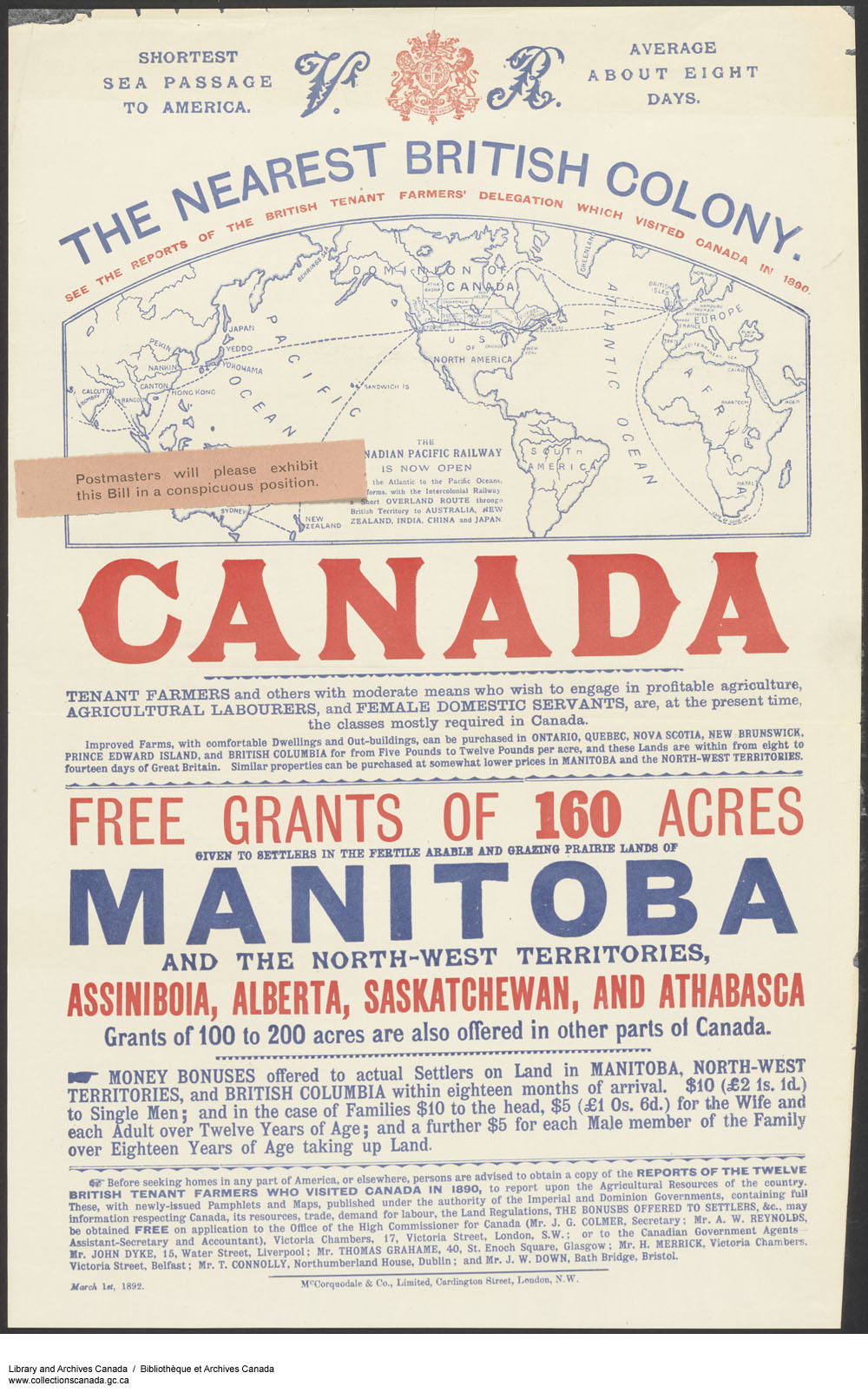 Poster design 19th century - Broadside With Map Showing Travel Routes To Canada And A Crest Flanked By The Letters
