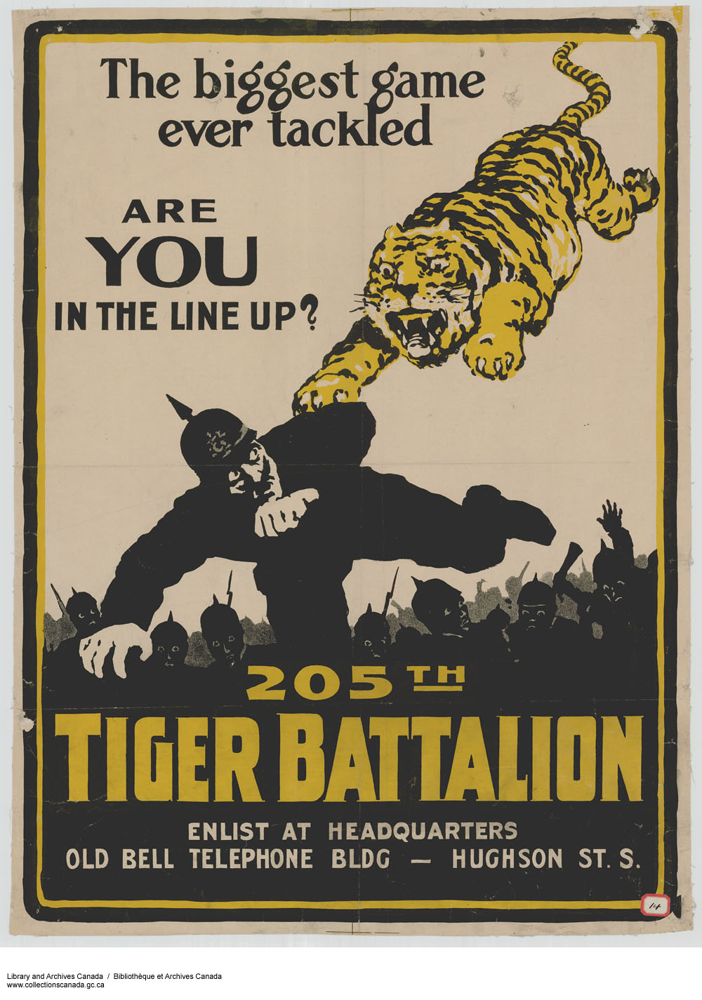 Poster design 19th century - Poster Printed With Illustration Of A Tiger Leaping At A Fleeing German Soldier Title At
