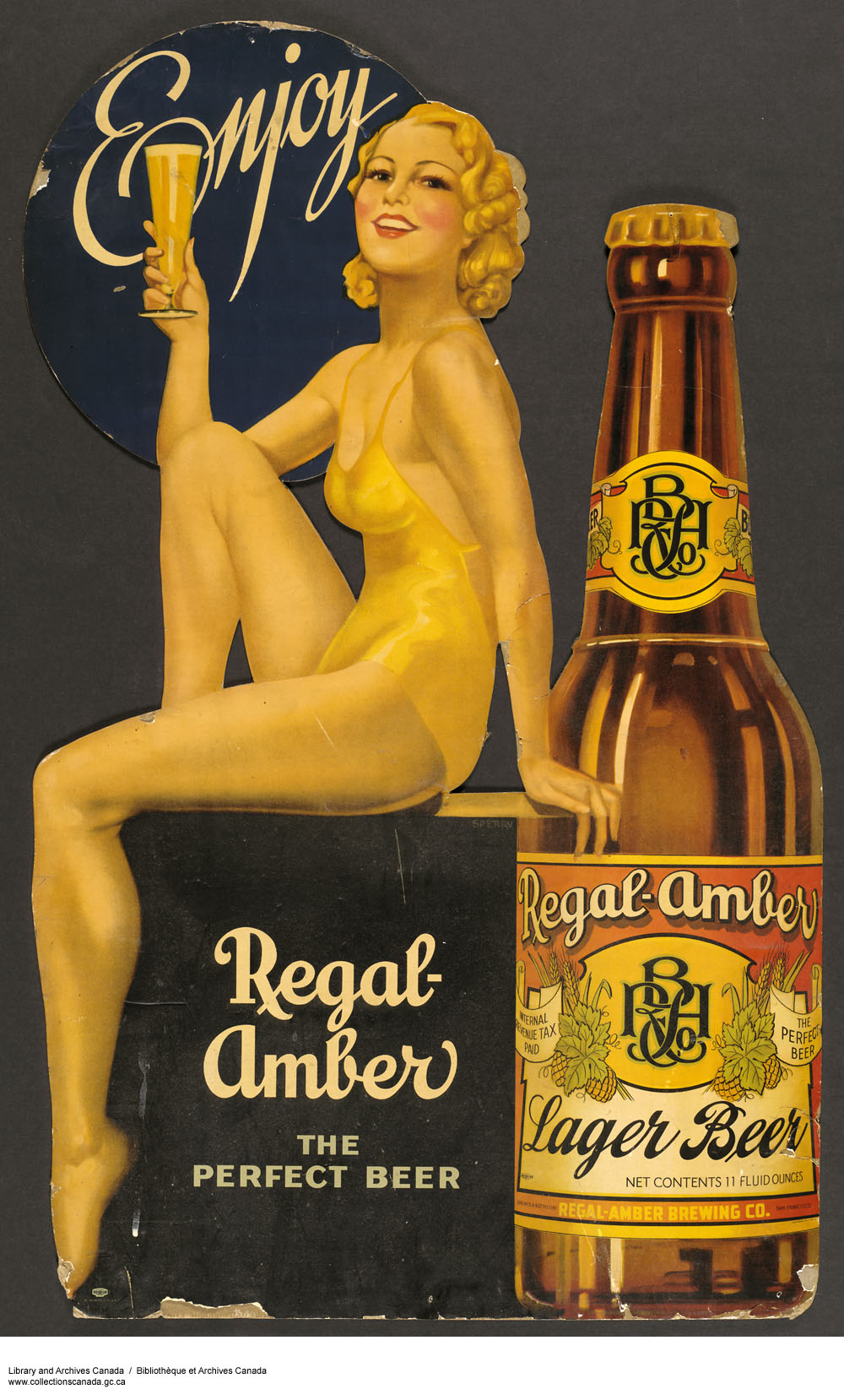 Colour Advertisement With Illustration Of A Woman Wearing Gold Coloured Bathing Suit Holding