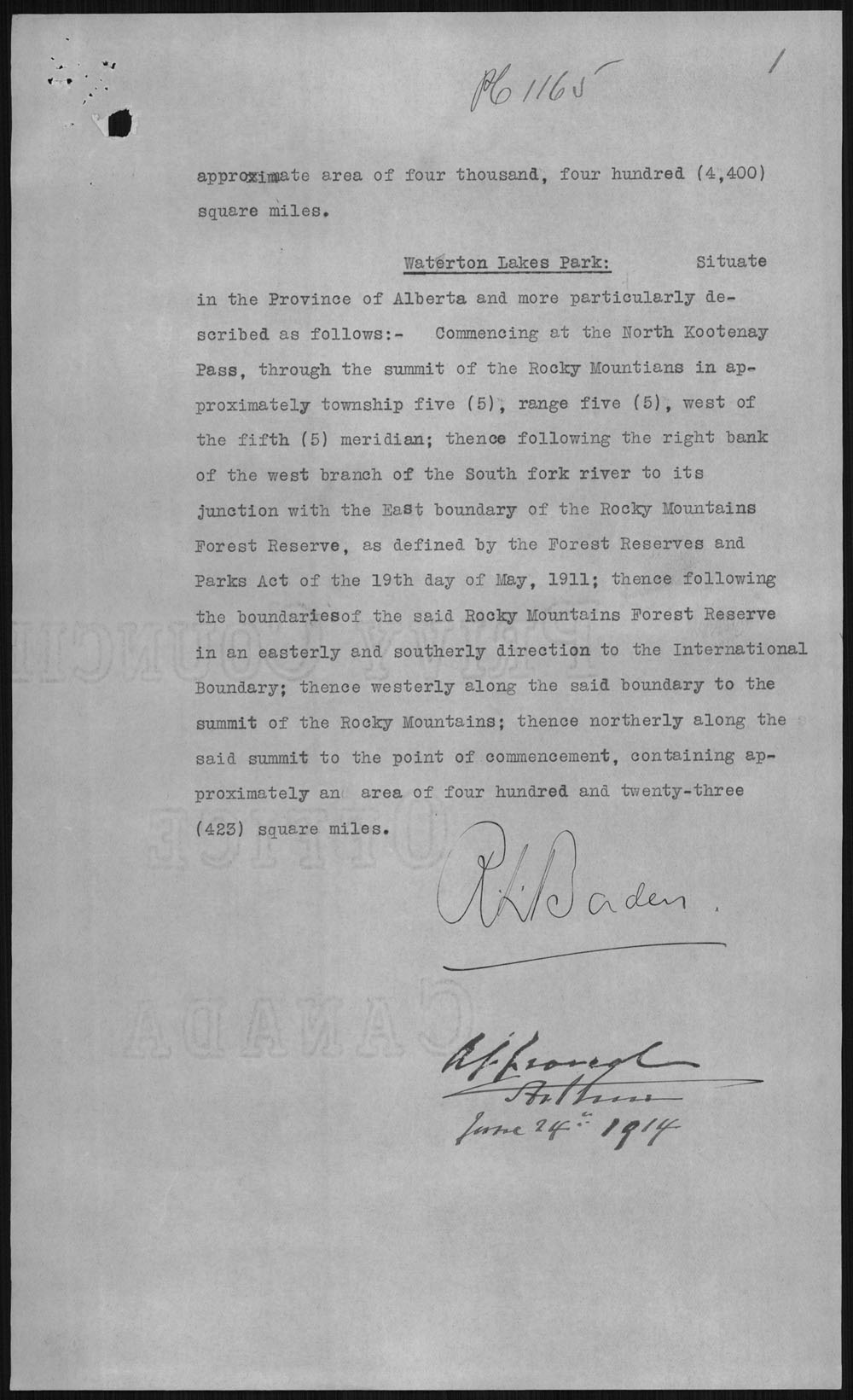 Digitized page of Orders in Council for Image No.: e010877241-v8