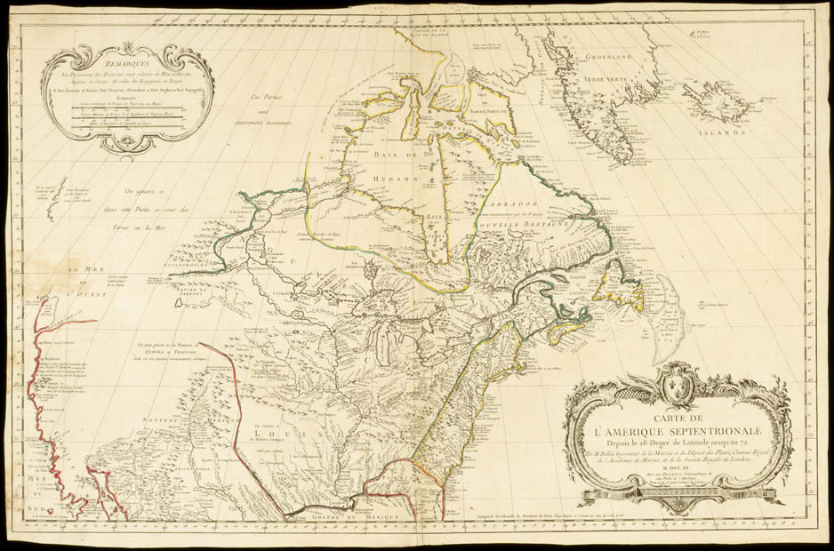 Map of North America by Jacques-Nicolas Bellin, 1755. CA ANC NMC- 21057